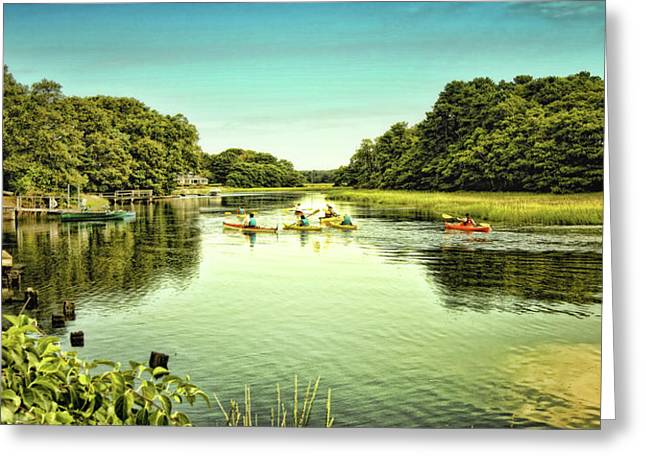 Canoe Greeting Cards - Canoeing Greeting Card by Gina Cormier