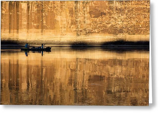 Canoeing In Golden Light Greeting Card by Tim Grams
