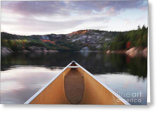 Canoeing In Ontario Provincial Park Greeting Card by Oleksiy Maksymenko