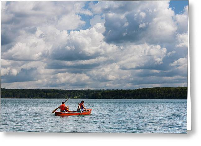 Life Jacket Greeting Cards - Canoeing in Riding Mountain National Park Greeting Card by Matt Dobson