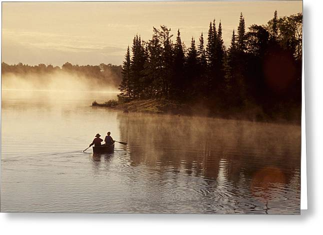 Two Persons Greeting Cards - Canoeing On Winnipeg River, Pinawa Greeting Card by Dave Reede