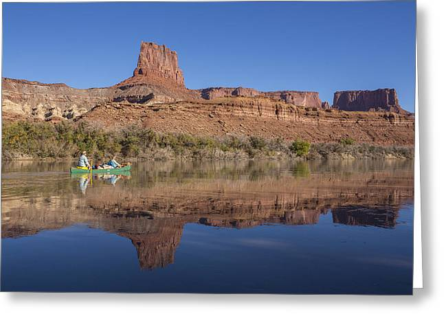Canoeing The Green River Greeting Card by Tim Grams