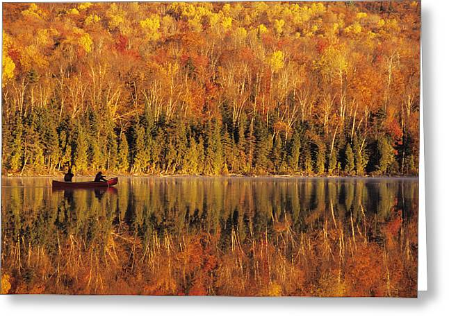 Canoeist Greeting Cards - Canoeists At Sunrise, Lac Bouchard, La Greeting Card by Ron Watts