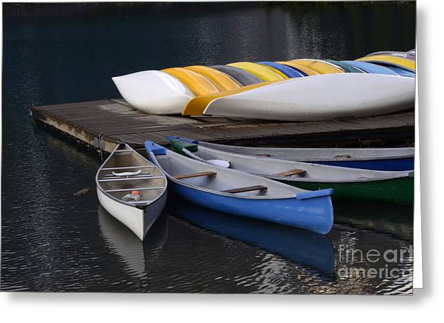 Canoe Greeting Cards - Canoes Morraine Lake Greeting Card by Bob Christopher