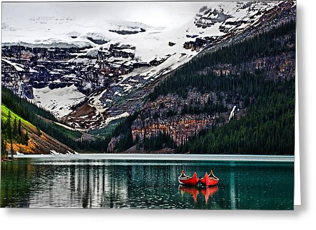 Canoe Pyrography Greeting Cards - Canoes on Lake Louise Greeting Card by Maurice Griffith