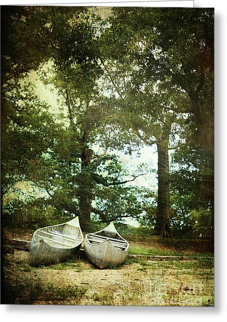 Canoe Greeting Cards - Canoes on the Shore Greeting Card by Stephanie Frey