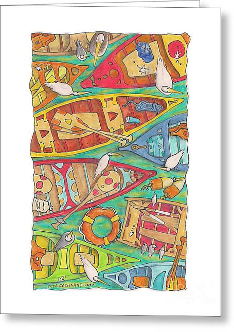 Canoe Drawings Greeting Cards - Canoes Greeting Card by Pete Cochrane