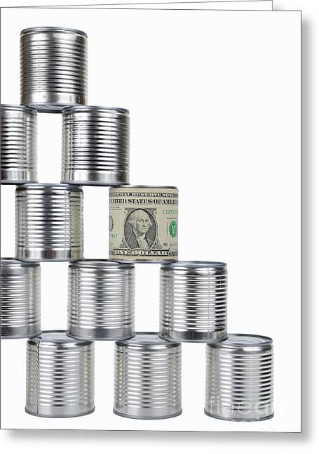 Domination Greeting Cards - Cans pyramid wrapped by US banknote Greeting Card by Sami Sarkis