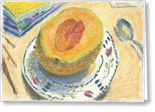 Interior Still Life Pastels Greeting Cards - Canteloupe Greeting Card by Scott Bennett