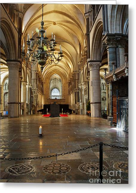 The Vault Digital Greeting Cards - Canterbury Cathedral Aisle Greeting Card by Donald Davis
