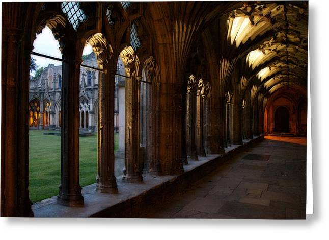 Cathedral Rock Greeting Cards - Canterbury Cathedral Cloister at Dusk Greeting Card by Lisa Knechtel