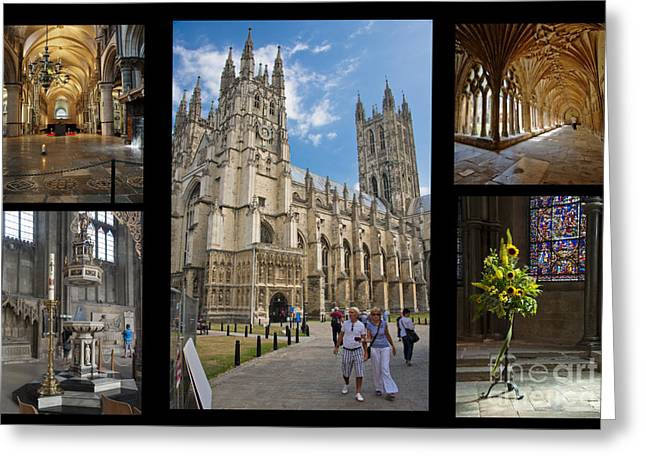 Selection Digital Greeting Cards - Canterbury Cathedral Collage Greeting Card by Donald Davis