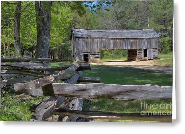 Cantilever Barn Greeting Cards - Cantilever Barn from Fence Greeting Card by Sue Karski