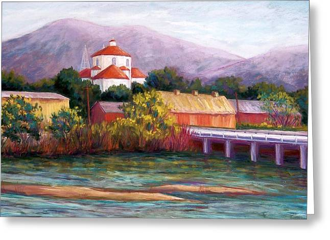 Bridge Pastels Greeting Cards - Canutillo and the River Greeting Card by Candy Mayer