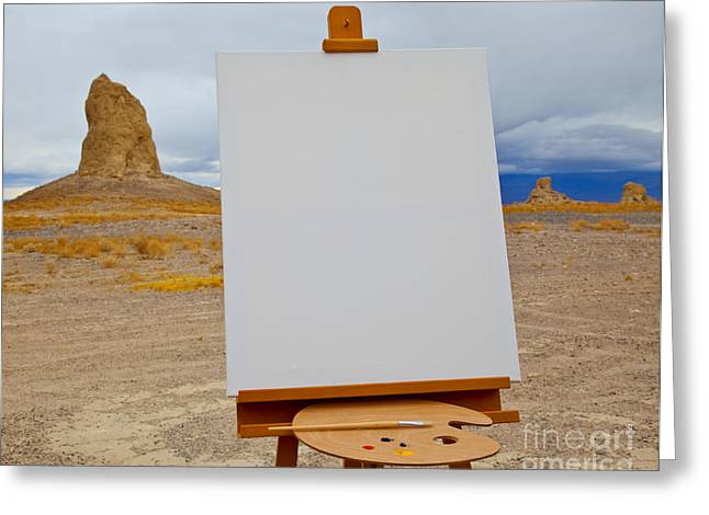 Creativity Desert Greeting Cards - Canvas and Easel in Desert Greeting Card by David Buffington
