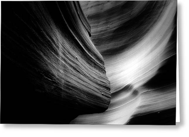 Red And White Greeting Cards - Canyon Curves in Black and White Greeting Card by Christine Till