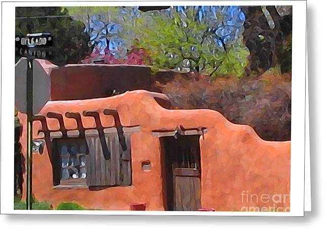 Santa Fe Digital Art Greeting Cards - Canyon Road Gallery Greeting Card by Charlie Spear
