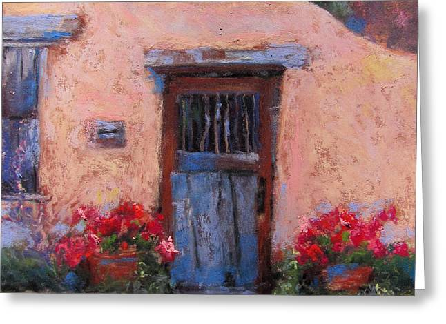 Gate Pastels Greeting Cards - Canyon Road Greeting Card by Julia Patterson
