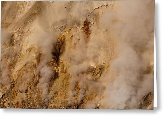 Grand Canyon Of The Yellowstone Greeting Cards - Canyon Steam Vents in Yellowstone National Park Greeting Card by Bruce Gourley