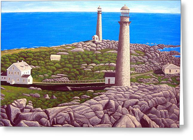Landscapes Greeting Cards - Cape Ann Twin Towers Greeting Card by Frederic Kohli