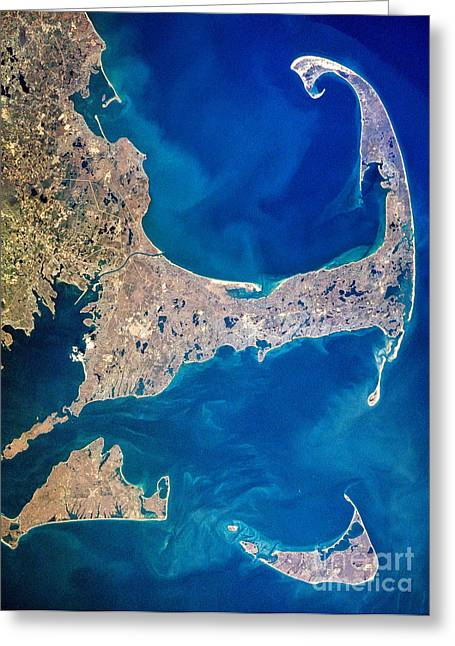 New England Ocean Greeting Cards - Cape Cod and Islands Spring 1997 view from satellite Greeting Card by Matt Suess