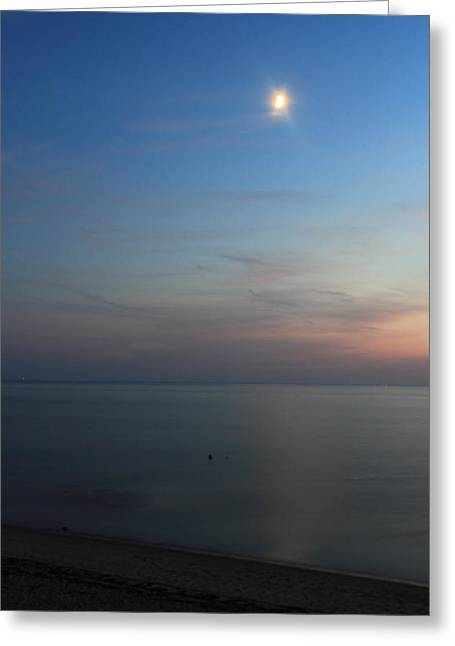 Moon Beach Photographs Greeting Cards - Cape Cod Bay Dusk Moon Greeting Card by John Burk