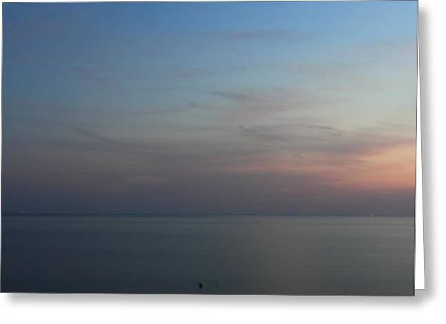 Cape Cod Bay Dusk Moon Greeting Card by John Burk