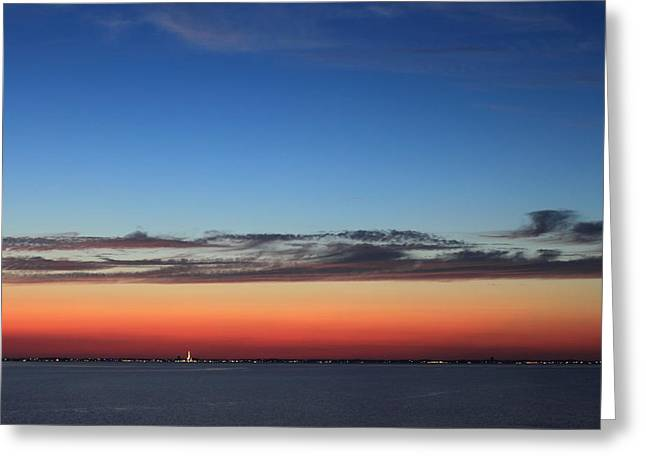 Cape Cod Bay Greeting Cards - Cape Cod Bay Dusk View to Provincetown Greeting Card by John Burk