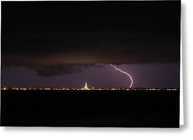 Thunderstorm Greeting Cards - Cape Cod Bay Thunderstorm over Provincetown Greeting Card by John Burk