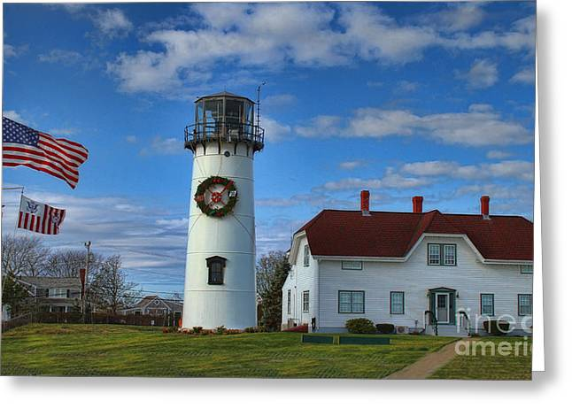 Chatham Greeting Cards - Cape Cod Chatham Lighthouse Greeting Card by Gina Cormier