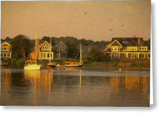 Water Vessels Mixed Media Greeting Cards - Cape Cod Evening Greeting Card by Michael Petrizzo