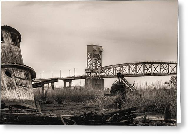 Cape Fear River Greeting Cards - Cape Fear Memorial Bridge Greeting Card by JC Findley