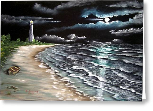 Sea Moon Full Moon Mixed Media Greeting Cards - Cape Florida Lite at Midnight Greeting Card by Riley Geddings