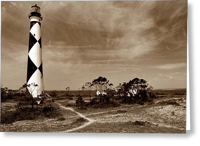 Cape Lookout Greeting Cards - Cape Lookout Lighthouse Greeting Card by Skip Willits