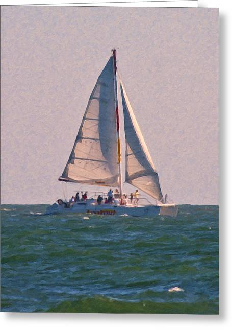 Cape Lookout Greeting Cards - Cape Lookout Sailboat Greeting Card by Betsy C  Knapp