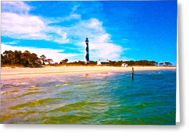 Cape Lookout Greeting Cards - Cape Lookout Shore and Lighthouse Greeting Card by Betsy C  Knapp