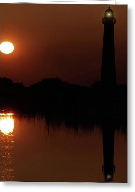 Photos Of Lighthouses Greeting Cards - Cape May Moonrise Greeting Card by Skip Willits