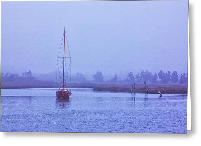 Sailboats In Harbor Greeting Cards - Cape May Sailboat in Fog Greeting Card by Tom Singleton