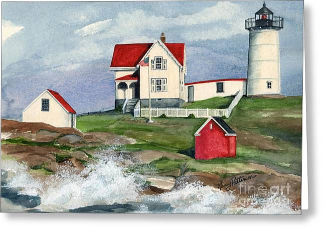 Nubble Lighthouse Paintings Greeting Cards - Cape Neddic Lighthouse  Greeting Card by Nancy Patterson