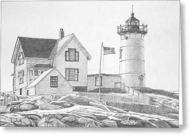 New England Lighthouse Greeting Cards - Cape Neddick Light House Drawing Greeting Card by Dominic White
