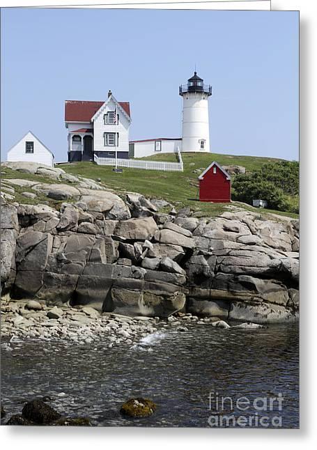 Cape Neddick Greeting Cards - Cape Neddick Light York Maine Greeting Card by John Van Decker