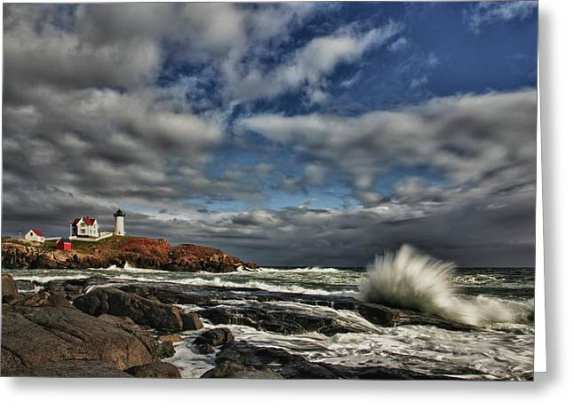 Cape Neddick Lighthouse Greeting Card by Rick Berk