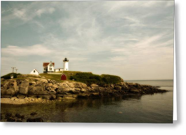 Cape Neddick Lighthouse Greeting Card by Warren Carrington