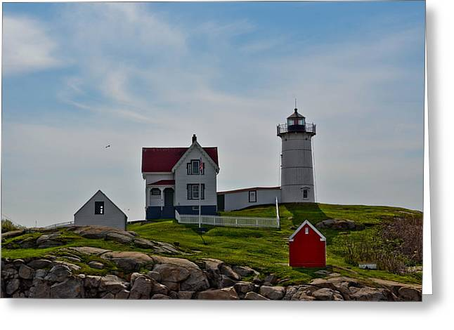 Cape Neddick Greeting Cards - Cape Neddick Nubble Light Greeting Card by Brenda Thimlar