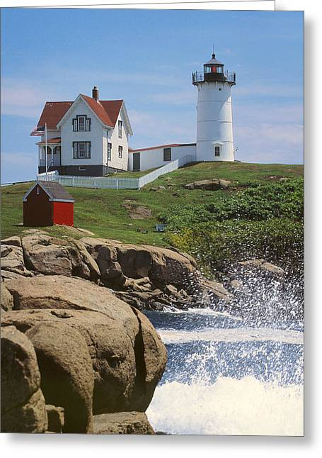 Cape Neddick Greeting Cards - Cape Neddick Nubble Lighthouse Maine Greeting Card by Jeff Clinedinst