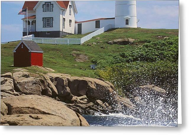 Cape Neddick Nubble Lighthouse Maine Greeting Card by Jeff Clinedinst