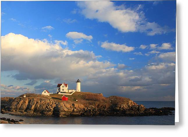 Cape Neddick Lighthouse Greeting Cards - Cape Neddick Nubble Lighthouse Maine Greeting Card by John Burk