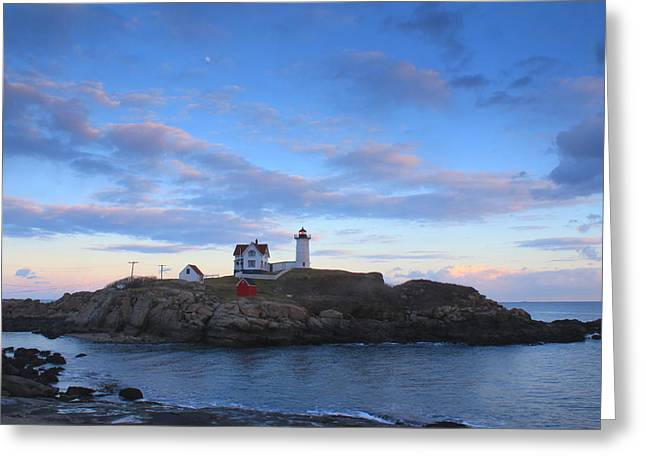 Cape Neddick Lighthouse Greeting Cards - Cape Neddick Nubble Lighthouse Twilight Greeting Card by John Burk