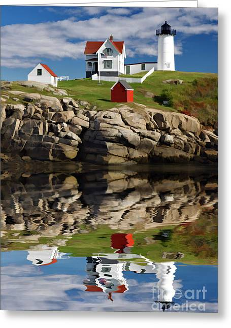 New England Lighthouse Digital Art Greeting Cards - Cape Neddick Reflection - D003756a Greeting Card by Daniel Dempster