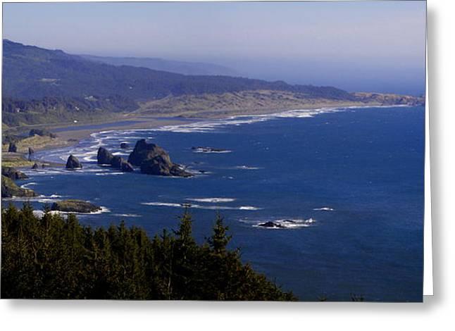 Meyers Creek Beach Oregon Greeting Cards - Cape Sebastian South 1 Greeting Card by Tatiacha  Bhodsvatan